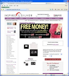 Inspired Silver Gift cards Screen shot