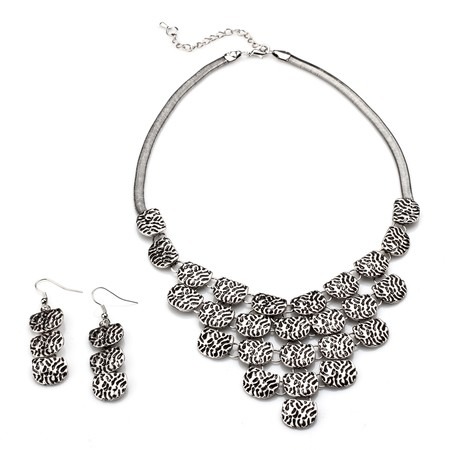 Zebra Textured Necklace and Earring Set