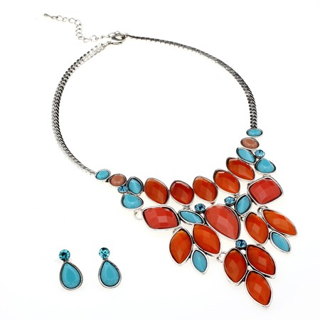 Turquoise and Coral CZ Necklace and Earrings Set