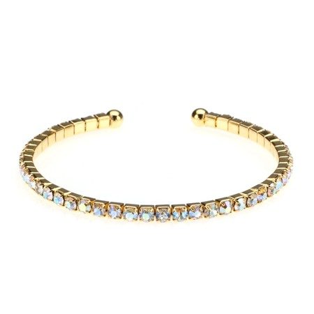 Golden Single Row CZ Stretch Bracelet