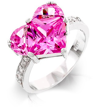 pink heart cz cocktail ring