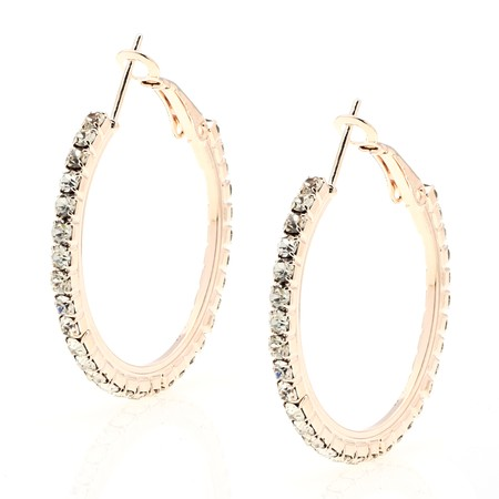 Rose Gold Round Cut CZ Hoop Earrings