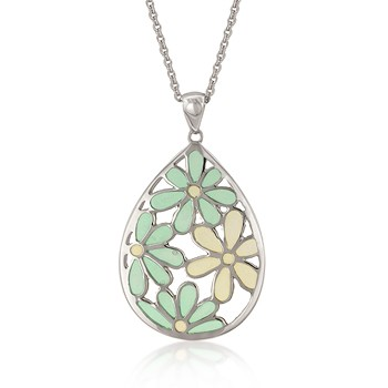 daisy tear drop flower pendant