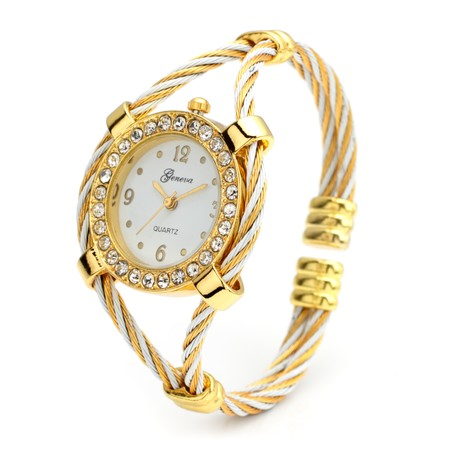Gold and White CZ Bangle Watch