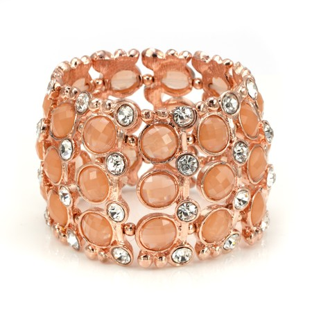 Rose Gold Peach and Clear CZ Stretch Bracelet
