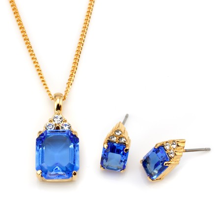 Golden Sapphire CZ Necklace and Earrings Set