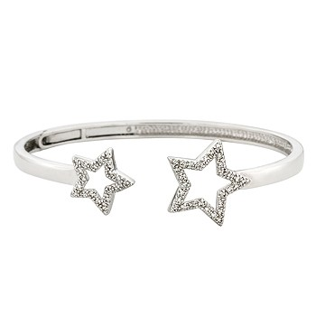 Open Star Clear CZ Bangle Bracelet