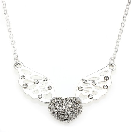 heart with wings that sparkle necklace