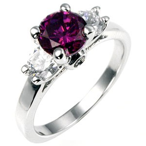 Amethyst and Clear Three Stone Ring