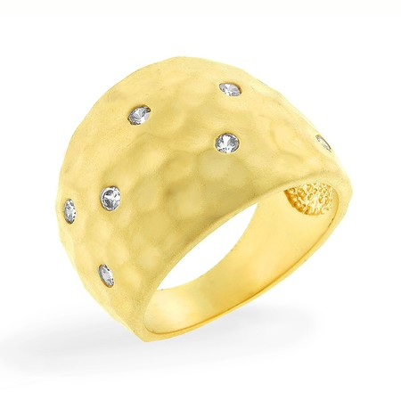 Two Tone CZ Studded Dome Ring