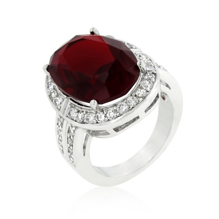 Oval Ruby Red Beauty CZ Cocktail Ring