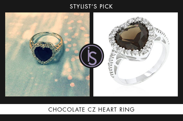 Chocolate CZ Heart Ring