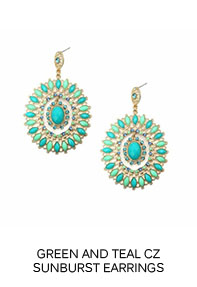 Green and Teal CZ Sunburst Earrings