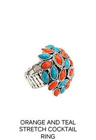 Orange and Teal Stretch Cocktail Ring