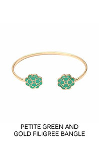 Petite Green and Gold Filigree Bangle