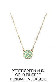 Petite Green and Gold Filigree Pendant Necklace