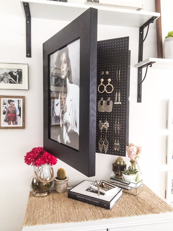 Jewelry organizers inspired silver for Picture frame organization wall