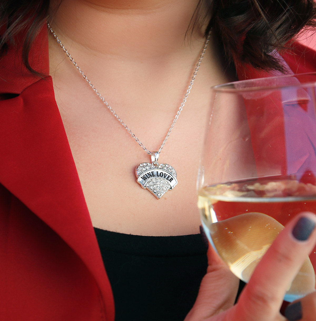 silver, wine lover, wine, heart, necklace